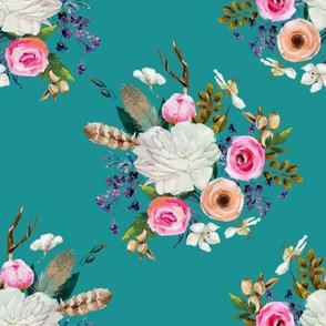 """8"""" Boho Deer Love Florals - Aqua"""