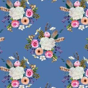 "4"" Boho Deer Love Florals - Dark Blue"