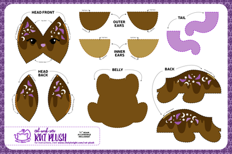 Cut & Sew Rat Plush Chocolate fabric by sewdesune on Spoonflower - custom fabric