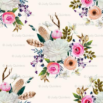 """4"""" Boho Deer Love Florals - Ivory"""