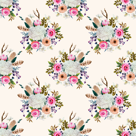 "4"" Boho Deer Love Florals - Ivory fabric by shopcabin on Spoonflower - custom fabric"
