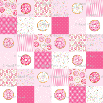 Pink Donuts cheater quilt 6 inch squares