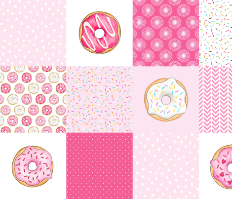 Pink Donuts cheater quilt 6 inch squares fabric by hazelfishercreations on Spoonflower - custom fabric