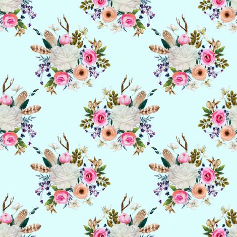 "4"" Boho Deer Love Florals - Light Aqua fabric by shopcabin on Spoonflower - custom fabric"