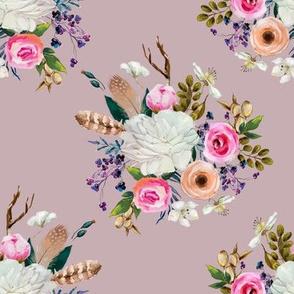 "8"" Boho Deer Love Florals - Mauve"