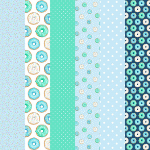 Blue Donuts cheater quilt 6 inch strips