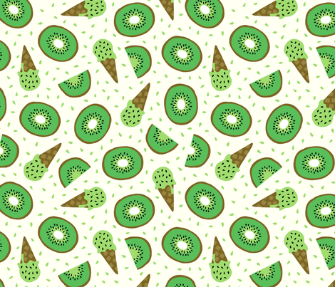 Jumbo Kiwi summer ice cream party fabric by heleen_vd_thillart on Spoonflower - custom fabric