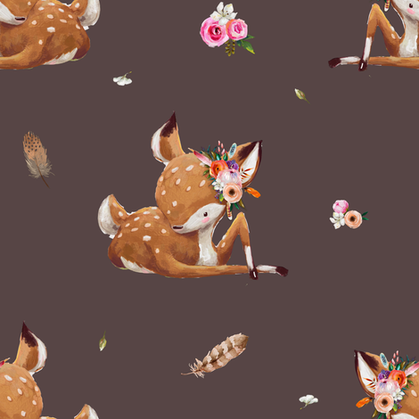 "8"" Boho Baby Deer - Brown fabric by shopcabin on Spoonflower - custom fabric"