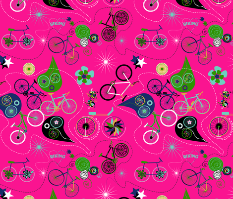 Cycledelic Pink fabric by stasiajahadi on Spoonflower - custom fabric