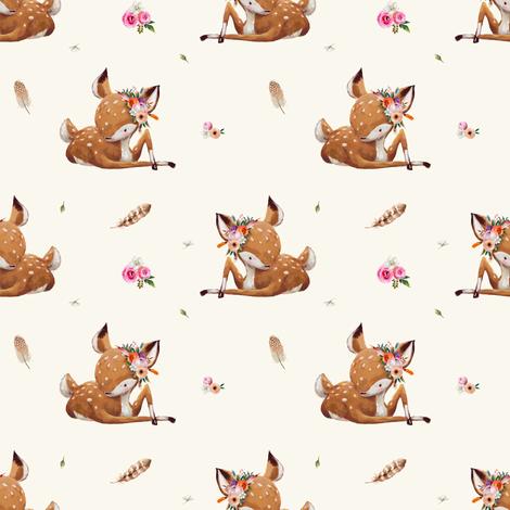 "4"" Boho Baby Deer - Ivory fabric by shopcabin on Spoonflower - custom fabric"
