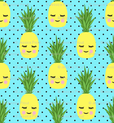 happy pineapples - blue with polka dots