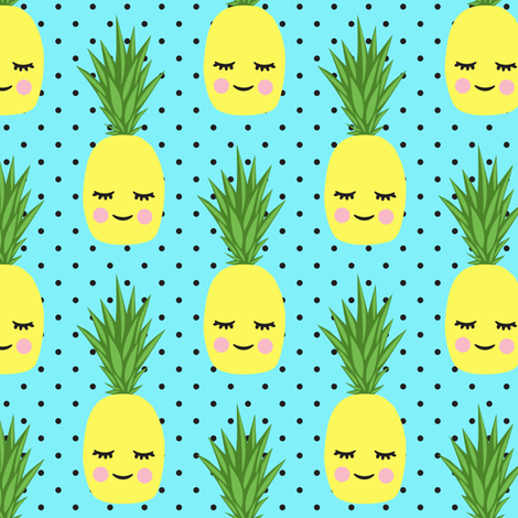 happy pineapples - blue with polka dots fabric by littlearrowdesign on Spoonflower - custom fabric