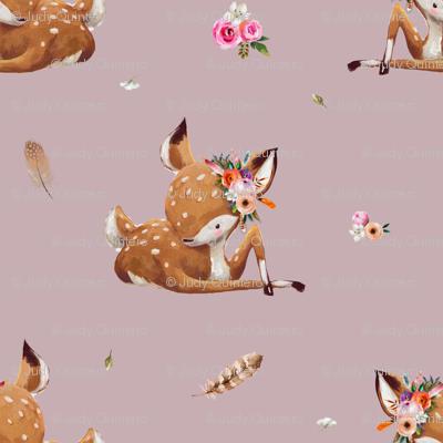 "4"" Boho Baby Deer - Mauve"
