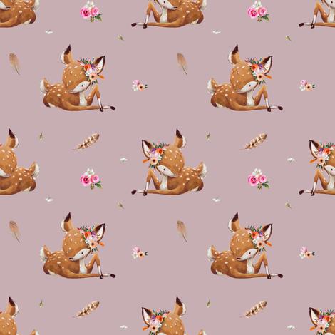 "4"" Boho Baby Deer - Mauve fabric by shopcabin on Spoonflower - custom fabric"