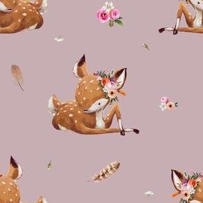 "8"" Boho Baby Deer - Mauve"