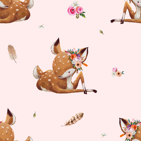 "8"" Boho Baby Deer - Pink fabric by shopcabin on Spoonflower - custom fabric"