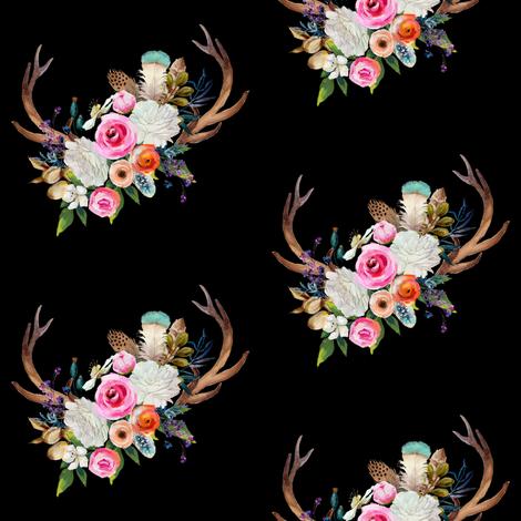 """4"""" Boho Baby Deer Antlers - Black fabric by shopcabin on Spoonflower - custom fabric"""