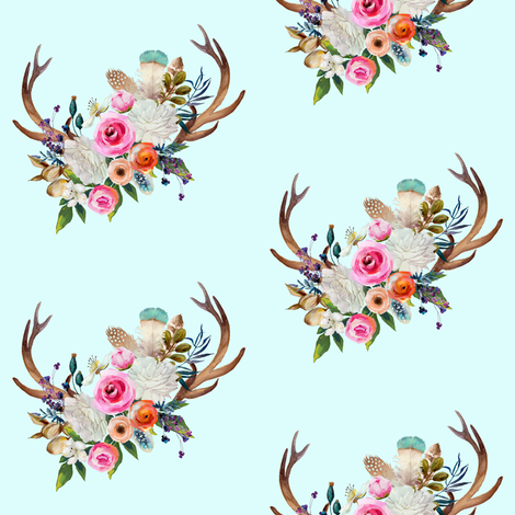 "4"" Boho Baby Deer Antlers - Light Aqua fabric by shopcabin on Spoonflower - custom fabric"