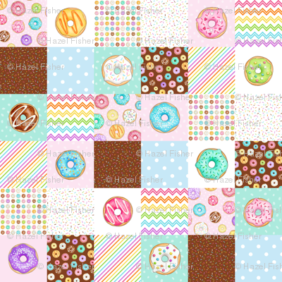 Rainbow Donuts cheater quilt 6 inch squares
