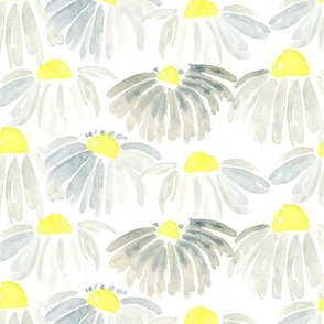 Lemon Yellow Gray Grey Daisy Watercolor Floral Flower _ Miss Chiff Designs