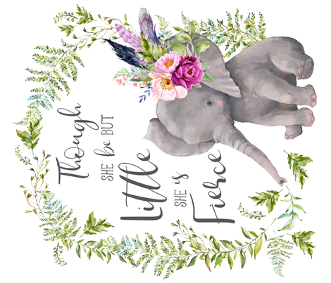 """42""""x36"""" Though She Be But Little Elephant fabric by shopcabin on Spoonflower - custom fabric"""