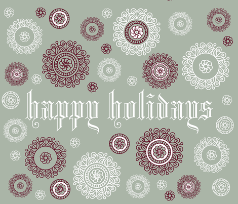 happy holidays fabric by farreystudio on Spoonflower - custom fabric