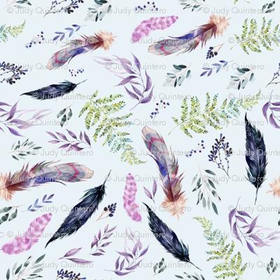 """4"""" Boho Lilac Leaves & Feathers - Blue"""