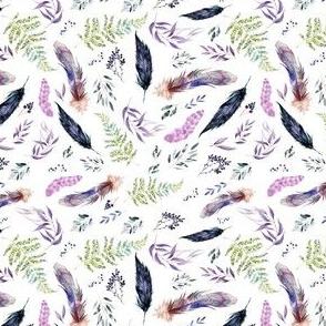 "4"" Boho Lilac Leaves & Feathers - White"