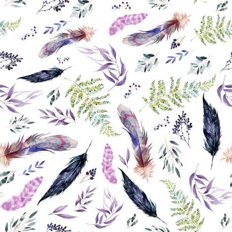 """8"""" Boho Lilac Leaves & Feathers - White fabric by shopcabin on Spoonflower - custom fabric"""