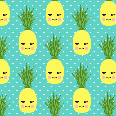happy pineapples - polka dots on teal fabric by littlearrowdesign on Spoonflower - custom fabric