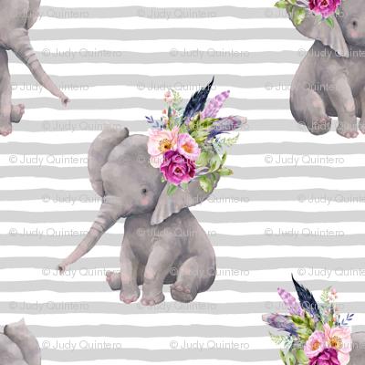 "4"" Boho Lilac Elephant - Grey Stripes"