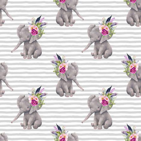 "4"" Boho Lilac Elephant - Grey Stripes fabric by shopcabin on Spoonflower - custom fabric"