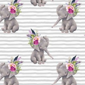 "4"" Boho Lilac Elephant - Grey Stripes"