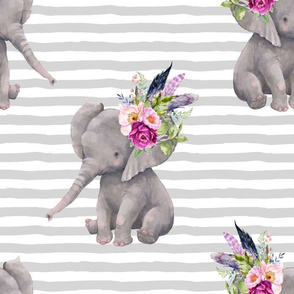 "14"" Boho Lilac Elephant - Grey Stripes"