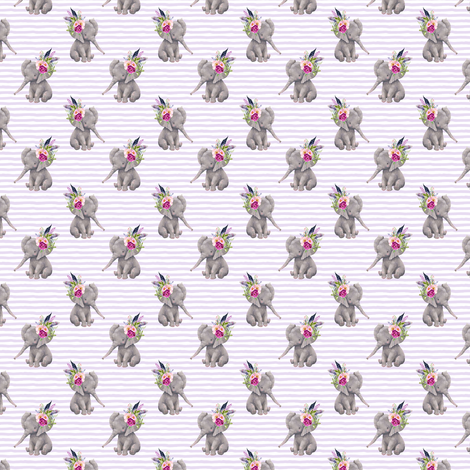 "1.5"" Boho Lilac Elephant - Lilac Stripes fabric by shopcabin on Spoonflower - custom fabric"