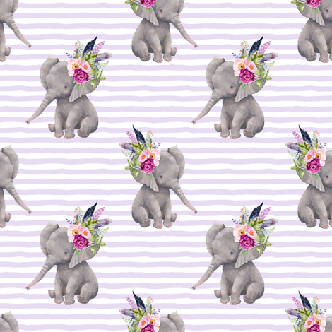 "4"" Boho Lilac Elephant - Lilac Stripes fabric by shopcabin on Spoonflower - custom fabric"