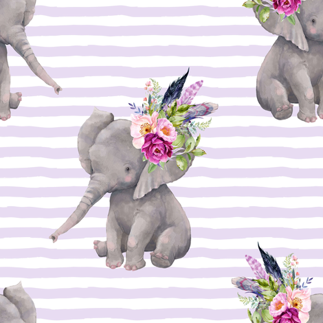 "8"" Boho Lilac Elephant - Lilac Stripes fabric by shopcabin on Spoonflower - custom fabric"