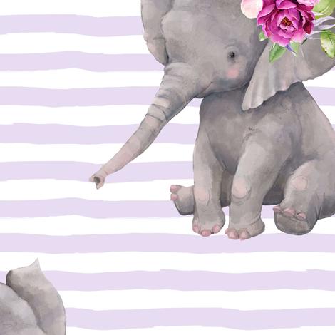 "14"" Boho Lilac Elephant - Lilac Stripes fabric by shopcabin on Spoonflower - custom fabric"