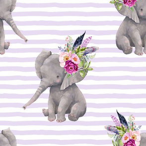 "14"" Boho Lilac Elephant - Lilac Stripes"