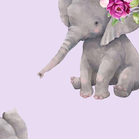 "14"" Boho Lilac Elephant - Lilac fabric by shopcabin on Spoonflower - custom fabric"