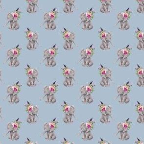 "1.5"" Boho Lilac Elephant - Muted Blue"