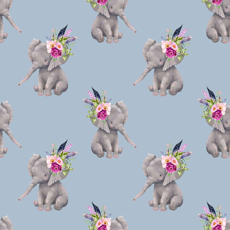 "4"" Boho Lilac Elephant - Muted Blue fabric by shopcabin on Spoonflower - custom fabric"