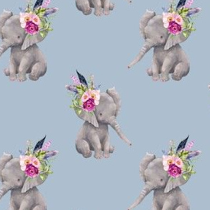 "4"" Boho Lilac Elephant - Muted Blue"