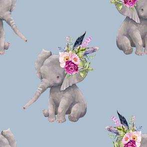 "8"" Boho Lilac Elephant - Muted Blue"