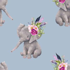 "14"" Boho Lilac Elephant - Muted Blue"