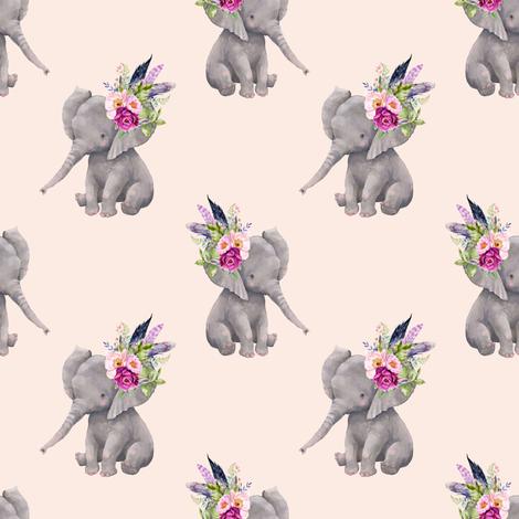 "4"" Boho Lilac Elephant - Peach fabric by shopcabin on Spoonflower - custom fabric"