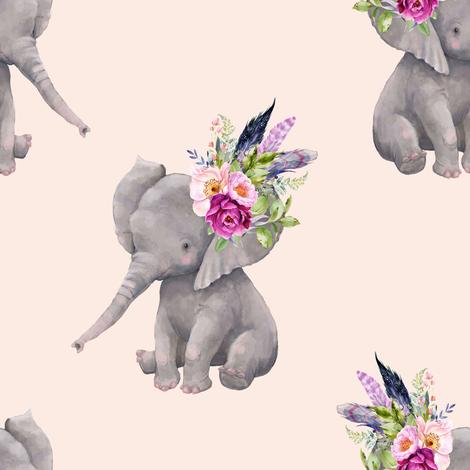 "8"" Boho Lilac Elephant - Peach fabric by shopcabin on Spoonflower - custom fabric"