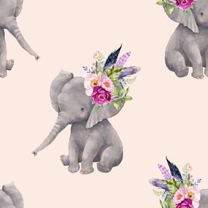 """14"""" Boho Lilac Elephant - Peach"""