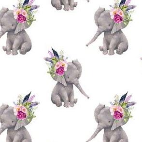 "4"" Boho Lilac Elephant - White"