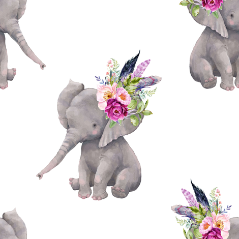 "8"" Boho Lilac Elephant - White fabric by shopcabin on Spoonflower - custom fabric"